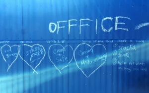 """Chalk Art Left On Office Saying """"Clean and Safe"""""""