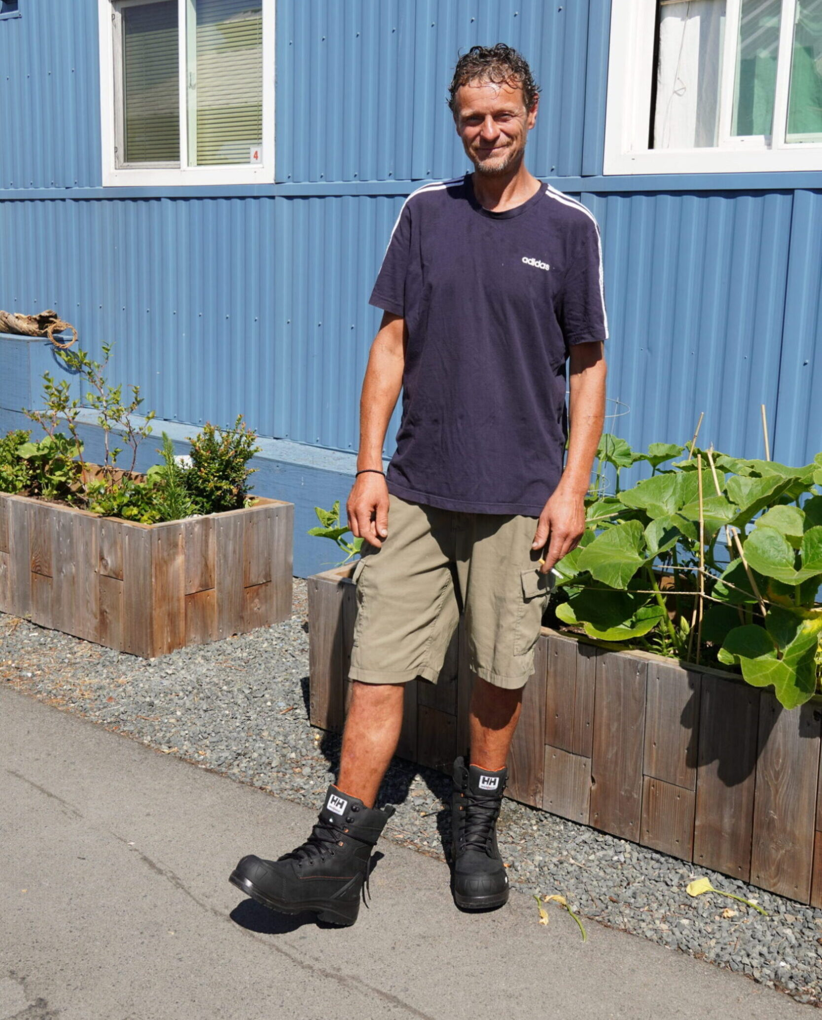 Jay in his new work boots.